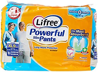Lifree Powerful Slim Pants, XL, 9 Count, (Pack of 4)