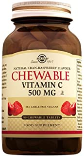 Solgar, Chewable Vitamin C, Natural Cran-Raspberry Flavor, 500 mg, 90 Chewable Tablets