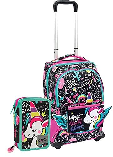 Schoolpack Zaino Trolley Gopop Unicorno con Due Ruote Rinforzate + Astuccio 3 Zip Completo