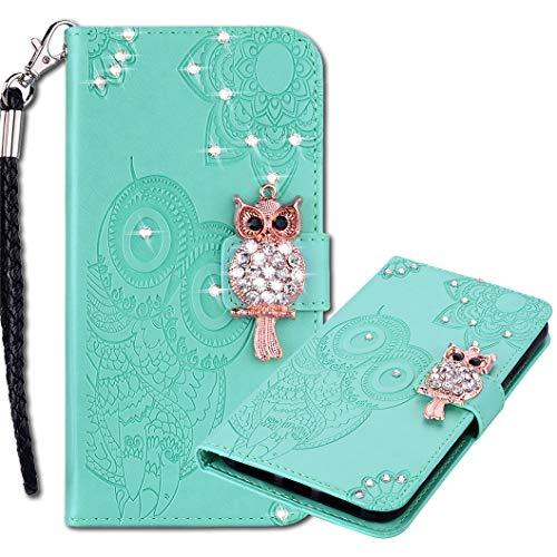 MRSTER Lederhülle Samsung Note 20 Ultra Flip Hülle, 3D Prägung Eule Bling Diamond Schutzhülle mit Handschlaufe Voller Schutz Handyhülle für Samsung Galaxy Note20 Ultra 5G. Owl Green