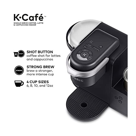 Keurig K-Cafe Coffee Maker, Single Serve K-Cup Pod Coffee, Latte and Cappuccino Maker, Comes with Dishwasher Safe Milk… 11 COFFEE, LATTES & CAPPUCCINOS: Use any K-Cup pod to brew coffee, or make delicious lattes and cappuccinos. SIMPLE BUTTON CONTROLS: Just insert any K-Cup pod and use the button controls to brew delicious coffee, or make hot or iced lattes and cappuccinos. LARGE 60oz WATER RESERVOIR: Allows you to brew 6 cups before having to refill, saving you time and simplifying your morning routine. Removable reservoir makes refilling easy.