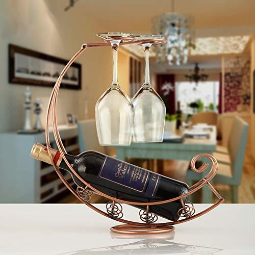 Botelleros Vino Organizador del sostenedor del Glass Bar Botella soporte metálico de la vendimia tipo colgante soporte de exhibición del hogar Decoración Estante del vino (Color : Black)