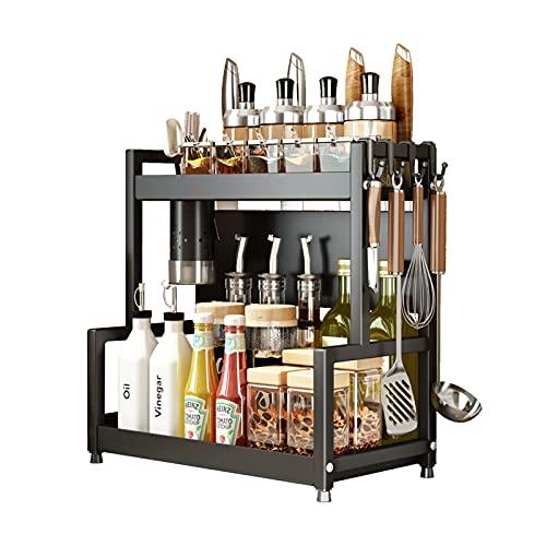 Joly Home Especiero Organizador Cocina - 2 Niveles Especieros Para Cocina Muchos Usos Metal Organizadores De Cocina, Especiero Para Recipientes Condimentos Tarros