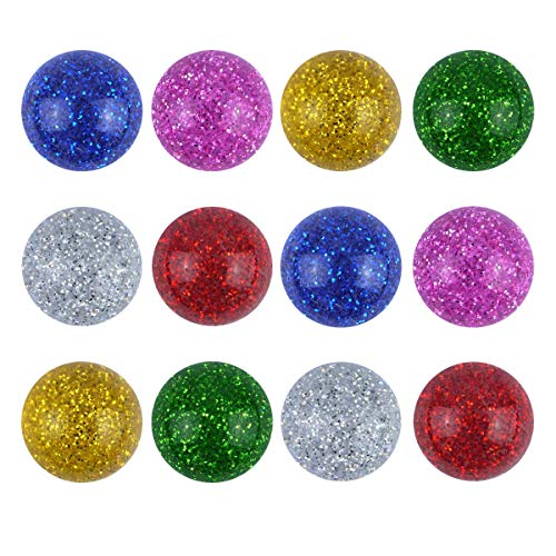 12X Glitter Flummis / für Kinder-Geburtstag Jungen und Mädchen / Mitgebsel / Kindergeburtstag Gastgeschenke / Gummiball / Springball / Glitzer Party Flummi Set