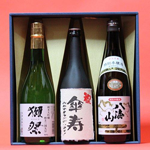 傘寿祝い おめでとうございます!日本酒 本醸造+ 獺祭 だっさい 39+八海山 720ml 3本 ギフト箱 茶色クラフト紙ラッピング 傘寿祝い 熨斗 付