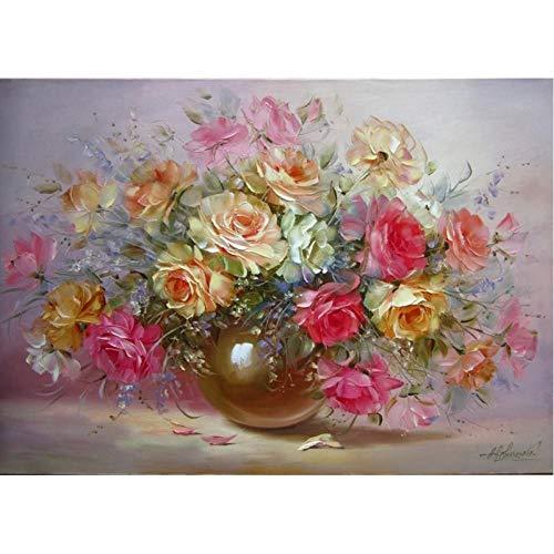 VFDGB mooie bloemen in vaas bloem Diy digitaal schilderenWall Art Canvas schilderij cadeau Home Decor 40X50Cm