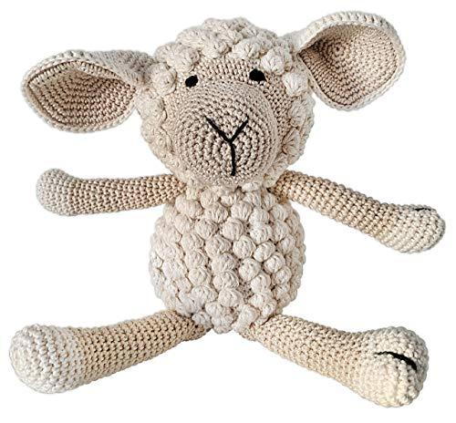 LOOP BABY - Gehäkeltes Schaf - super weiches Kuscheltier für Mädchen und Jungen - Stoffpuppe aus Bio-Baumwolle - perfekt als Geschenk für Babys und Kinder