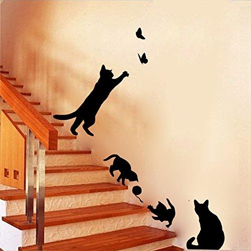 Winhappyhome Juego traviesa linda gatos negros extraíble pegatinas de pared para el dormitorio de la sala Escaleras Calzada Telón de fondo de la decoración