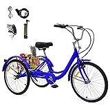 24 Zoll Zahnräder Dreirad für Erwachsene 1 Gänge Aluminium Erwachsenendreirad Shopping mit Korb 3 Rad Fahrrad für Erwachsene Adult Tricycle Comfort Fahrrad Outdoor Sports City Urban