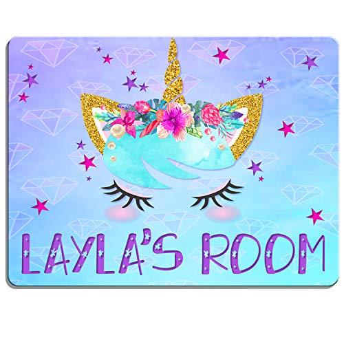 KRAFTYGIFTS UNICORN Girls Bedroom Door Sign Personalised Children's Child Room...