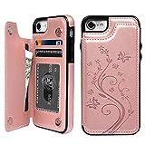 iPhone 8 ケース 手帳型 iPhone 7 ウォレットケース 押し花型 バタフライ レザー スマホケース 多機能カード収納 スタンド 機能ケース 人気 おしゃれ 耐汚れ 衝撃吸収 スマートフォン全面保護カバー ピンク