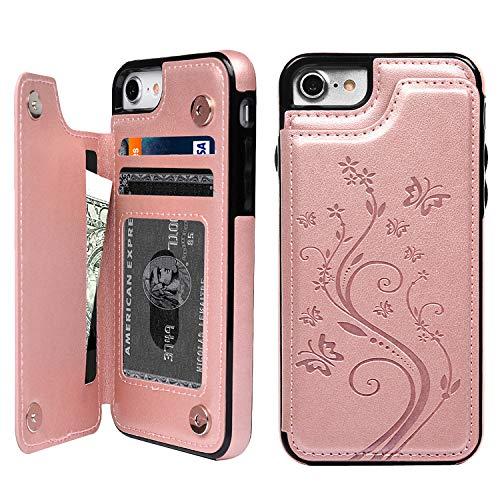 promixc Funda para iPhone 7, iPhone 8 con tarjetero, piel sintética, función atril, ranuras para tarjetas de crédito, funda protectora para Apple iPhone 7/iPhone 8, color oro rosa