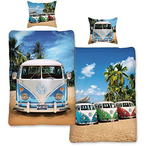 VW Volkswagen Bulli Bettwäsche Life 135 cm x 200 cm + 80 cm x 80 cm VW-Bus T1 100% Baumwolle in Renforcé-Linon-Qualität Camper Van Retro Beach Surfen Bus Wendebettwäsche Reißverschluss Motiv 062