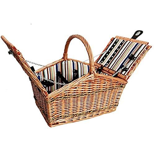 Picknickkorb, leer, handgefertigt, Braun, Naturweide, Picknickkorb mit Doppeldeckel, Picknickkorb für 4 Personen