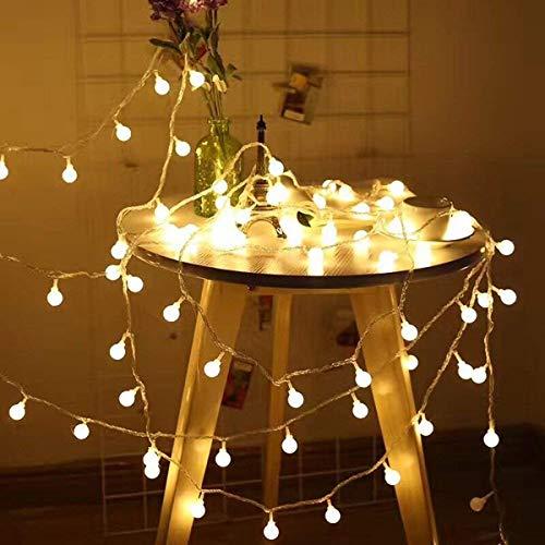 AutoWT Luces de cadena bola esmeriladas, 7.5M 50 luces de cadena LED Luces de hadas con globo impermeables a batería para fiestas al aire libre interiores Boda, dormitorio, jardín, decoración Navidad