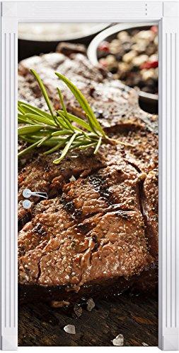 Stil.Zeit Möbel Leckeres Fleisch mit Rosmarin als Türtapete, Format: 200x90cm, Türbild, Türaufkleber, Tür Deko, Türsticker