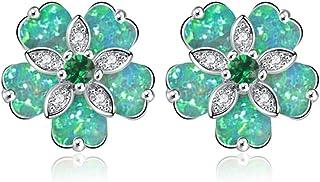 Sponsored Ad - CiNily Flower Earrings Opal Stud Earrings for Women Rhodium Plated Hypoallergenic Jewelry Gemstone Earrings...