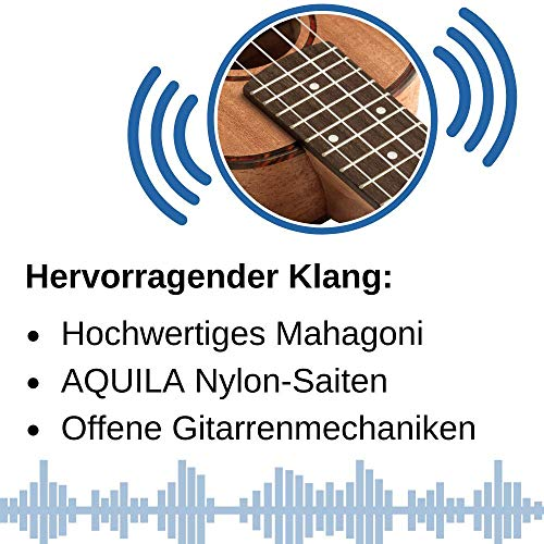 CASCHA HH 2036 DE Premium Mahagoni Konzert Ukulele Bundle mit Ukulelenschule, Stimmgerät, gepolsterter Tasche, 3 Picks und Aquila Qualitäts-Saiten - 4
