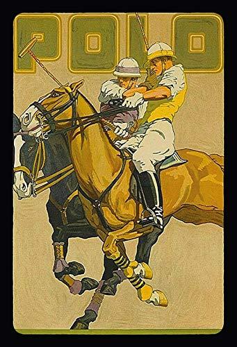 NWFS Polo - Cartel metálico (20 x 30 cm), diseño de dos hombres sobre caballos