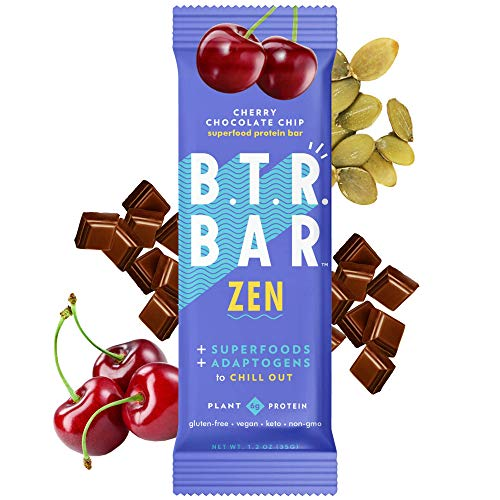 B.T.R. Bar Superfood Keto Protein Bars, Plant Based Vegan Protein, Low Carb Food, Low Calorie, Gluten Free, No Sugar Alcohols, Boosted with Superfoods & Adaptogens (12 Pack) (Cherry Chocolate Chip ZEN)