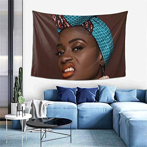 Resplandor Princesa Melanina Red Africana Labios Tapiz para colgar en la pared Arte Mural para Dormitorio, Sala de estar Dormitorio, Decoración del Hogar 156 x 100 cm