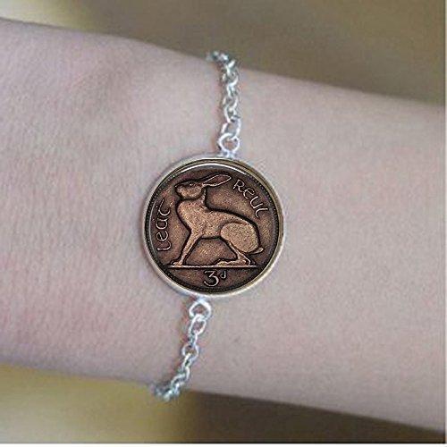 stahpk Image an Irish Celtic Rabbit Liebre Moneda de 3 Pence - Pulseras de conejo - Joyería de 3 Pence - Joyería de Conejo