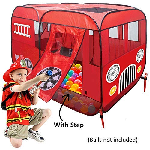Large Children Fire Engine Truck Pop-Up Playhouse Play Tent (with Step) at Front Door Good for Ball Pit Tents for Toddlers Boys Girls Kids to Play Fireman Sam, Car Tent Can be Used Indoor or Outdoor