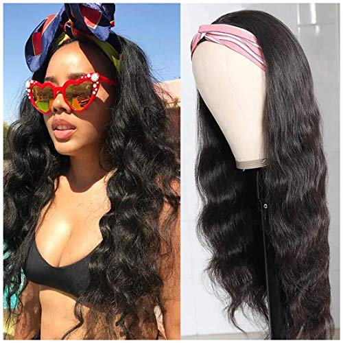 Beauty Forever Headband Wig Human Hair Wigs Body Wave Glueless Human Hair Wig With Pre-attached Scarf Non Lace Wigs for women Wear and Go Wig No Glue No Sew In Natural Color 150% Density 20 Inch