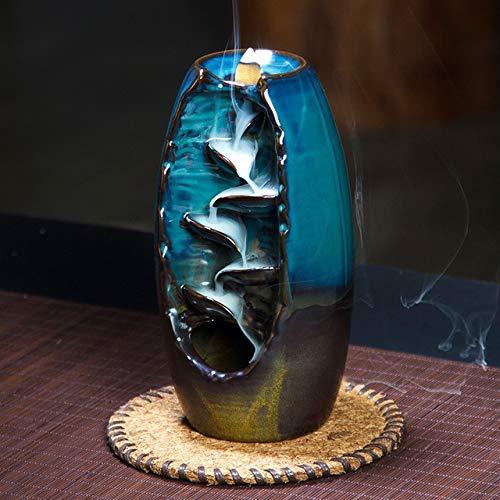 Lisaion Mountain Incense Holder Handmade Keramische Aromatherapie Duft Aromatische Ornament Retro Stil für Home Office Räuchermittel für Rückfallbrenner Gift-Blue