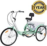 Slsy Adult Tricycles 7 Speed, Adult Trikes 24 inch 3 Wheel Bikes,...