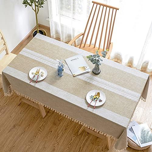 Mantel de Lino con borlas y Mantel de té Rectangular Grueso a Prueba de Polvo para Mesa de Boda S 140x220cm