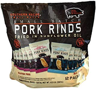 Southern Recipe Small Batch Pork Rinds Mixed Flavors, Sea Salt and Cracked Black Peppers and Korean Kimchi BBQ | Bag of .875 Oz, Pack of 12