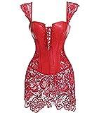Shndhi Pigiama Erotico Biancheria Intima Costumi per Adulti Corsetto con Lacci in Pelle da Donna con Cerniera Anteriore Goth Bustier-4Xl_Rosso