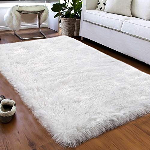 Softlife Faux Fur Sheepskin Area Rugs Shaggy Wool Rug for Bedroom Girls Kids Living Room Home Christmas Party Decorations Floor Carpet (3 ft x 5 ft, White with Silver Glitter)