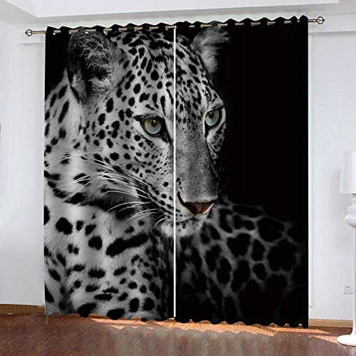 LUOWAN tende oscuranti camera da letto Ghepardo animale bianco e nero Total size:110' wide x 114' drop (280cm x 290cm) Tenda Drappeggio Opaca con Occhielli Stampato Termica Isolante Soggiorno Camera d