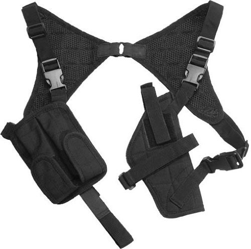 G8DS® Pistolenholster Cordura Schulterholster schwarz verstellbar mit Magazintaschen