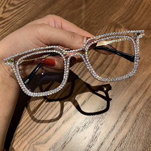 iceBoo Occhiali da Sole da Donna Stile retrò Lenti Trasparenti Occhiali da Sole da Donna Strass Blu Chiaro Occhiali da Sole