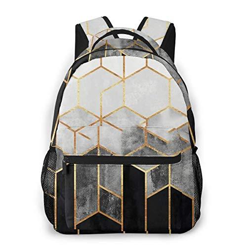 LNLN lässiger Rucksack grünLesmus Charcoal Hexagons Fashion Waterproof Computer Bag School Bag Travel Bag 8x11 5x16 in