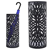 Bakaji BAK7B - Paragüero de hierro de diseño redondo con adornos en forma de pétalos, bandeja recogegotas y ganchos para paraguas plegables, 49x 19,5cm, color negro