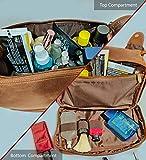 Rustic Town Kulturtasche Männer Leder große Waschtasche Herren im Vintage Design Toilettentasche ideal für Reisen Kulturbeutel aus echtem Leder - 2