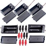 YUEQIN 2 pcs 3.7 V 18650 Batería Plana Caso Plástico Caja de Batería y 3pcs Portapilas 9V con Cable y Caja con Tapa e Interruptor y 10 Pinzas de Cocodrilo