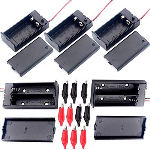 YUE QIN 2 pezzi 18650 Scatola Porta Batteria Doppia e Scatola Porta Batteria 3 pezzi 9 V con ON / OFF, più 10 Clip a Coccodrillo, Per TVCC, Fai-da-te, Motori, Solenoidi, Strisce LED