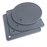 Extra Thick Silicone Trivet Mat Heat Resistant Multi-Purpose None Slip Table Place Mats for Hot Pots Holder, Pads, Pans, Dishes, Spoon Rest, Coasters for Kitchen Cooking & Dining(4pcs Pack) (Grey)