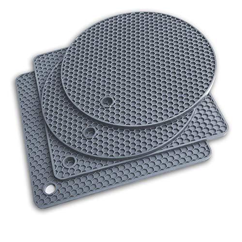 Topf Untersetzer 4pcs set Silikon Topflappen Topfuntersetzer Spülmaschinenfest Hitzebeständig bis 250°C(grau)