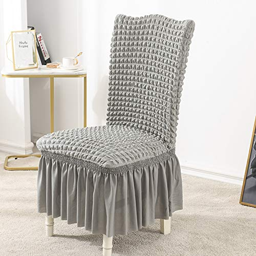 BoxJCNMU 2/4-teiliger Stuhlbezug mit Rock Stretch Dining Chair Covers Grey 2 Pieces