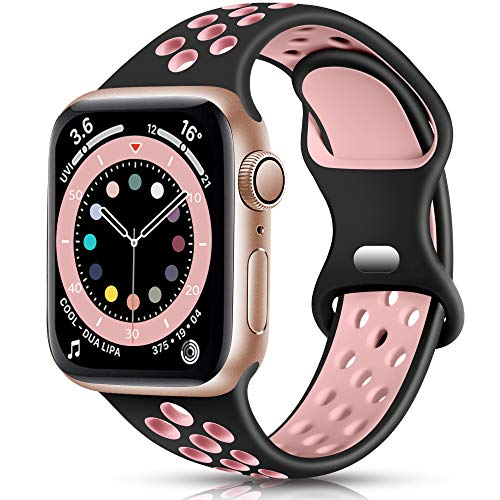 Epova Silicone Sport Strap Compatible with Apple Watch Strap 38mm 40mm, Breathable Replacement Straps for iWatch SE Series 6 5 4 3 2 1, Black/Pink, Small