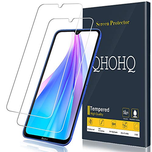 QHOHQ Protector de Pantalla para Xiaomi Redmi Note 8T, [2 Piezas] [Dureza 9H] Sin Burbujas HD Transparente Anti-Arañazos Cristal Templado
