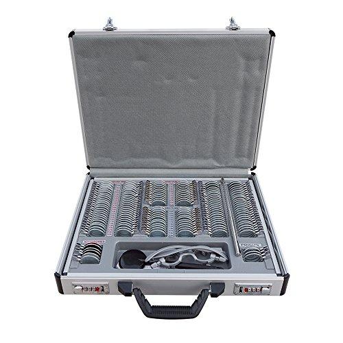ECO-WORTHY 158 pcs Optical Trial Lens Set Metalen velg Aluminium Case + Gratis proefframe