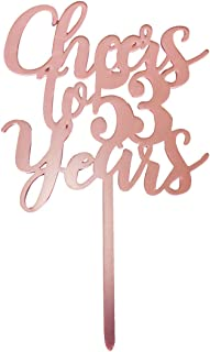 Cheers to 53 years cake topper, rose gold Happy 53rd Birthday Cake Topper, Birthday Party Decorations, Supplies