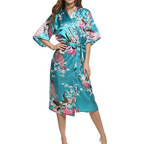 Asskyus Traje de Kimono de Robe Largo del sueño de Las Mujeres, Albornoz del Pavo Real y Flores del Traje Floral (XXXL, Lago Azul)